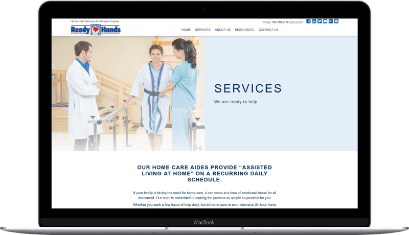 ReadyHands Home Care site